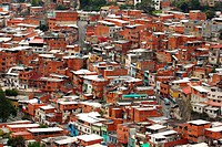 Simple houses or ranchos of Caracas, Venezuela as seen from El Avila