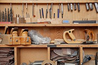 Germany, Upper Bavaria, Schaeftlarn, Variety of tools in shelf