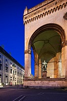 Twilight view of the Feldherrnhalle, Residenzstrasse and Odeonplatz, Munich, Bayern, Germany