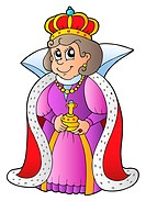 Happy queen on white background _ isolated illustration.