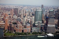 Aerial view of skyline of Manhattan, New York City, USA