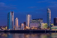 Skyline and Waterfront at night, Liverpool, Merseyside, England