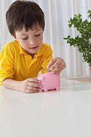 Germany, Munich, Boy putting money in piggy bank