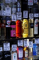 Bottles of Vodka on sale at Gerry's Wine and Spirits, Old Compton Street, Soho, London, England, UK
