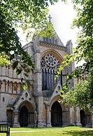 View of St Albans Cathedral and west entrance, Hertfordshire, England, UK