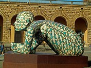 Co-stell-azione, sculpture by Italian contemporary artist Rabarama. Piazza Pitti, Florence, Tuscany, Italy