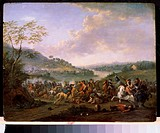 Cavalry Skirmish. Breydel, Karel (1678-1733). Oil on copper. Flemish Painting of 16th-18th cen. . State Museum Arkhangelskoye Estate, Moscow. 48x61. P...