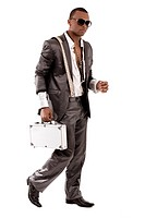 Gangster walking with his briefcase on a isolated white background