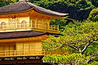 Close up of Kinkaku_ji temple in Kyoto, Japan.
