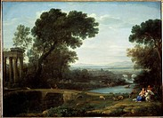 Landscape with the Rest on the Flight into Egypt (Midday). Lorrain, Claude (1600-1682). Oil on canvas. Baroque. 1661. State Hermitage, St. Petersburg....