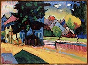 Landscape with a green House. Kandinsky, Wassily Vasilyevich (1866-1944). Oil on cardboard. Expressionism. 1908. State Hermitage, St. Petersburg. 33x4...