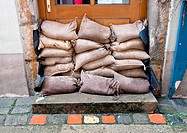 Flooding in Passau.Bavaria, Germany.Sandbags to seal.