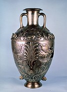 Amphora with relief scenes. Scythian Art . Silver, gilded. Ancient Cultur. 1st H. of 4 cen. BC. State Hermitage, St. Petersburg. H 70. Applied Arts.