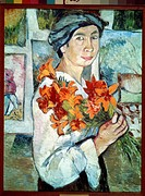 Self-portrait with yellow lilies. Goncharova, Natalia Sergeevna (1881-1962). Oil on canvas. Expressionism. 1907. State Tretyakov Gallery, Moscow. 77x5...