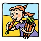 Girls with carrots