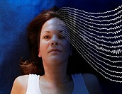 Woman awake and asleep with brain waves