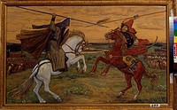 Single combat of Peresvet and Temir-murza on the Kulikovo Field in 1380. Vasnetsov, Viktor Mikhaylovich (1848-1926). Gouache on cardboard. Russian Pai...