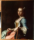 The Embroideress. Rotari, Pietro Antonio (1707-1762). Oil on canvas. Rococo. State Open-air Museum Palace Gatchina, St. Petersburg. 83,5x67,5. Paintin...