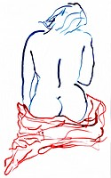 drawing of a naked sitting woman from the backside