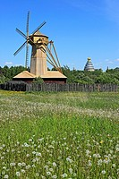 Wooden windmill near the New Jerusalem monastery, Istra, Moscow region, Russia