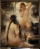 In a steam bath. Tikhov, Vitali Gavrilovich (1876-1939). Oil on canvas. Russian Painting, End of 19th - Early 20th cen. . Early 20th cen. . Private Co...