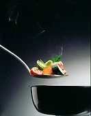 Vegetable pot _ Spoon with carrot tomato Zuchini Lauch and meat above a pot