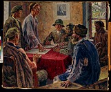 A Sitting of the Poor Peasants Committee in 1918. Moravov, Alexander Viktorovich (1878-1951). Oil on canvas. Soviet Art. 1920. Regional Art Gallery, T...