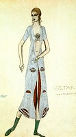 Costume design for Ida Rubinstein as Ishtar. Bakst, Léon (1866-1924). Colour lithograph. Theatrical scenic painting. 1924. Private Collection. 48,2x31...