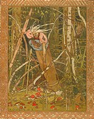 Baba Yaga (Illustration to the book Vasilisa the Beautiful). Bilibin, Ivan Yakovlevich (1876-1942). Watercolour, ink, white and gold colours on paper....