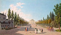 View of the Pavlovsk Palace from the Park. Lory, Gabriel Ludwig, the Elder (1763-1840). Copper engraving, watercolour. Classicism. 1808. State Hermita...