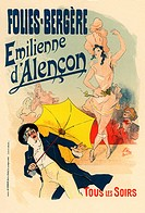 Folies Bergeres: Emilienne d'Alencon (Poster). Chéret, Jules (1836-1932). Colour lithograph. Art Nouveau. ca 1896. Private Collection. Poster.