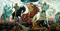 The Four Horsemen of the Apocalypse. Vasnetsov, Viktor Mikhaylovich (1848-1926). Oil on canvas. Russian Painting, End of 19th - Early 20th cen. . 1887...
