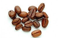 Several roasted coffee beans in front of white background