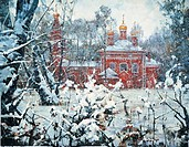 Winter in Vladykino. Church of the Nativity of the Theotokos. Nesterenko, Vasily Ignatievich . Oil on canvas. Modern. 1993. Private Collection. 140x18...