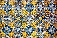Ceramic tiles in Hospital de Sant Pau, Barcelona, Catalonia, Spain