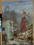 Spring Beauty and Snow Maiden. Perov, Vasili Grigoryevich (1834-1882). Oil on paper. Russian Painting of 19th cen. . 1870s. State Tretyakov Gallery, M...