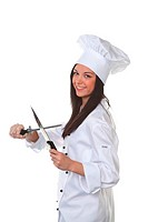 Young chef with knifes.Against a white background.