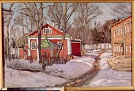 Country Estate in Winter. Zhukovsky, Stanislav Yulianovich (1873-1944). Oil on canvas. Postimpressionism. 1904. National Art Museum of Belorussian Rep...