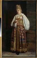 Woman from Kursk in traditional Russian clothing. Sedov, Grigori Semyonovich (1836-1884). Oil on canvas. Realism. 1871. State Tretyakov Gallery, Mosco...