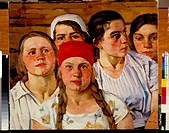 Youths of the Moscow Region. Yuon, Konstantin Fyodorovich (1875-1958). Oil on canvas. Soviet Art. 1926. State Russian Museum, St. Petersburg. Painting...