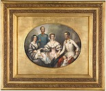 The Emperor Family of Austria. Bayer, Joseph (1820-1879). Lithograph, watercolour. Biedermeier. 1856. Private Collection. 39,5x30,5. Graphic arts.