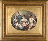 The Emperor Family of Austria. Bayer, Joseph (1820-1879). Lithograph, watercolour. Biedermeier. 1856. Private Collection. 39,5x30,5. Graphic arts.