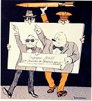 Creators of the NATO: Truman and Churchill. Kukryniksy (Art Group) (20th century). Colour lithograph. Caricature. 1980. Russian State Library, Moscow....