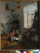 In the room. Young boys looking at book. Khrutsky, Ivan Phomich (1810-1885). Oil on canvas. Academic art. 1854. Russia. State Tretyakov Gallery, Mosco...
