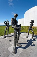 Statues at Perlan, the pearl, home of the Saga Museum and hot water storage for Reykjavik, Iceland