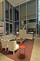 The living room in a large suite in the Fairmont Pacific Rim Hotel in downtown Vancouver, BC, Canada