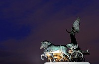 The quadriga on the roof of the Monumento Nazionale a Vittorio Emanuele II (National Monument to Victor Emmanuel II) or Altare della Patria (Altar of ...