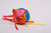 a close view of colorful ball decoration
