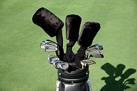 Close up of golf clubs