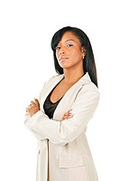 Serious black businesswoman with arms crossed isolated on white background